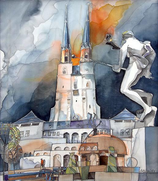 Seidenbild Göbelbrunnen von Sabine Böhm