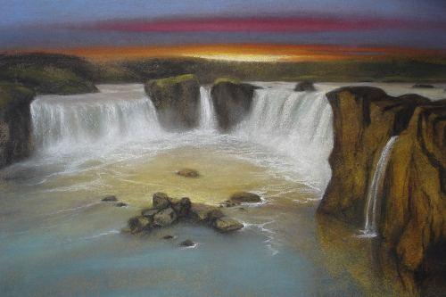 Pastell Götterfall zu Island