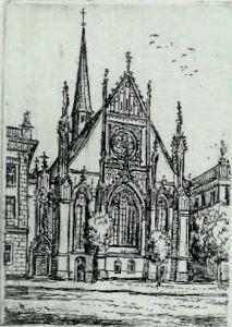 Radierung zur Unikirche Leipzig