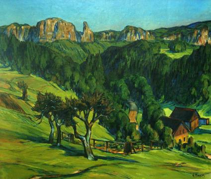 Hirschgrund bei Schmilka in der Sächsischen Schweiz um 1961,  gemalt von Erich Fraaß