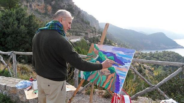Maler Roland Gräfe beim Malen im Freien an der Staffelei