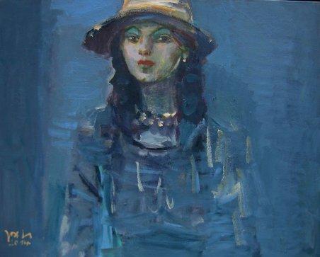 Gemälde Junge Frau mit Ohrring Jost Heyder 2014
